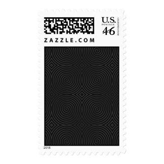 Stylish black spirals design postage stamps