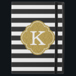 """Stylish Black Stripes Gold Monogram iPad Pro 12.9&quot; Case<br><div class=""""desc"""">A chic black and white striped pattern with a textured gold graphic Moroccan quatrefoil monogram template.</div>"""