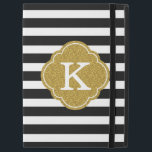 "Stylish Black Stripes Gold Monogram iPad Pro 12.9&quot; Case<br><div class=""desc"">A chic black and white striped pattern with a textured gold graphic Moroccan quatrefoil monogram template.</div>"