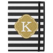 "Stylish Black Stripes Gold Monogram iPad Pro 12.9"" Case"