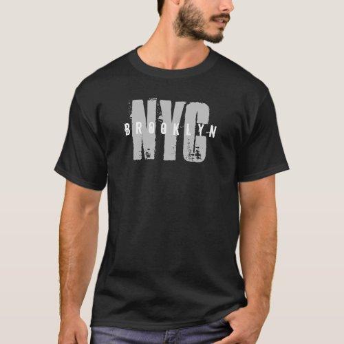 Stylish Black Template Brooklyn Nyc New York City T_Shirt