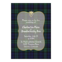 Stylish Black Watch Tartan Wedding Invitation