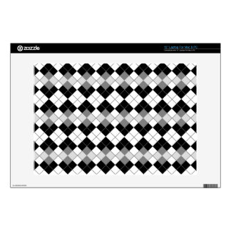 "Stylish Black, White and Grey Argyle Pattern 13"" Laptop Decals"