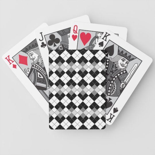 Stylish Black, White and Grey Argyle Pattern Bicycle Playing Cards
