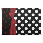Stylish Black, White, and Red Polka Dot Place mat Cloth Place Mat