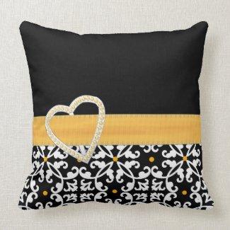 Stylish Black, White, and Yellow Damask Pillow throwpillow