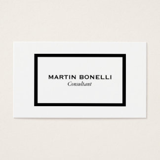Stylish Black White Border Standard Business Card