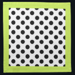 """Stylish Black, White, &amp; Chartreuse Polka Dot Cloth Napkin<br><div class=""""desc"""">Stylish cloth napkin done in a white,  with bold black polka dots.  A trendy chartreuse border,  around the outside of the napkins adds a contrasting whimsical touch.  Customize to add text to this pretty napkin.  Great with our matching ceramic ware and place mats.</div>"""