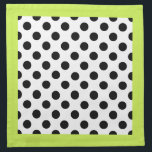 "Stylish Black, White, &amp; Chartreuse Polka Dot Cloth Napkin<br><div class=""desc"">Stylish cloth napkin done in a white,  with bold black polka dots.  A trendy chartreuse border,  around the outside of the napkins adds a contrasting whimsical touch.  Customize to add text to this pretty napkin.  Great with our matching ceramic ware and place mats.</div>"