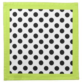 Stylish Black, White, & Chartreuse Polka Dot Cloth Napkin