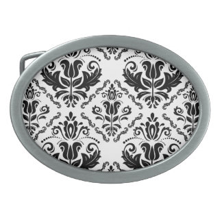 Stylish Black White Damask Decorate Pattern Belt Buckle