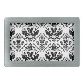 Stylish Black White Damask Decorate Pattern Belt Buckles