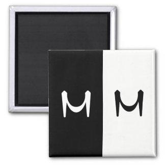 Stylish Black & White Double Initialed Monogram Magnet
