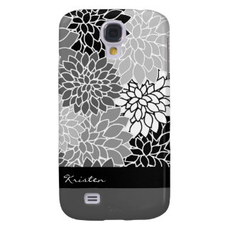 Stylish Black & White Floral Pattern Custom Samsung Galaxy S4 Cases