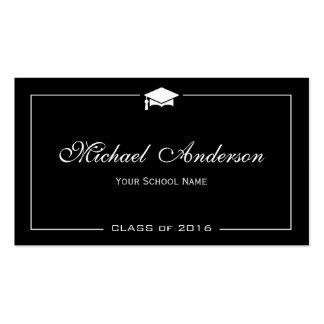 Stylish Black White Grad Cap Graduation Name Card