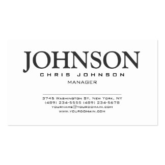 Stylish Black & White Gray Manager Business Card