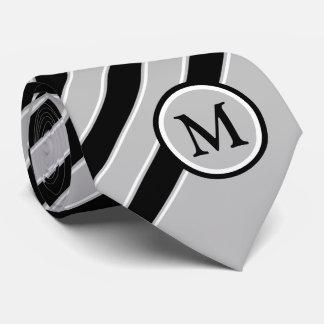 Stylish Black White Gray Stripes Monogram Initial Tie