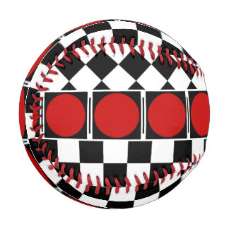 Stylish Black White Half Diamond Checkers red band Baseball