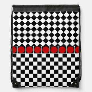 Stylish Black White Half Diamond Checkers red band Drawstring Backpack