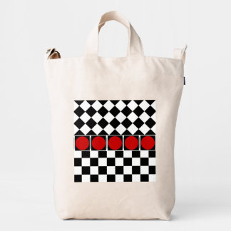 Stylish Black White Half Diamond Checkers red band Duck Bag