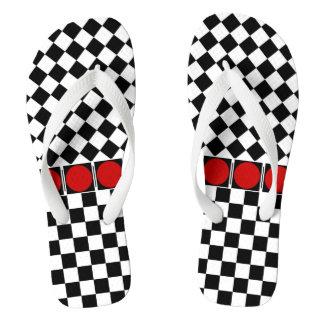 Stylish Black White Half Diamond Checkers red band Flip Flops