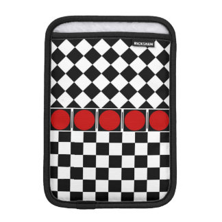 Stylish Black White Half Diamond Checkers red band iPad Mini Sleeve