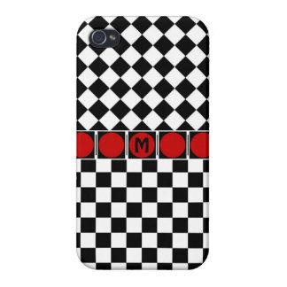 Stylish Black White Half Diamond Checkers red band iPhone 4/4S Case