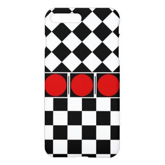 Stylish Black White Half Diamond Checkers red band iPhone 7 Plus Case