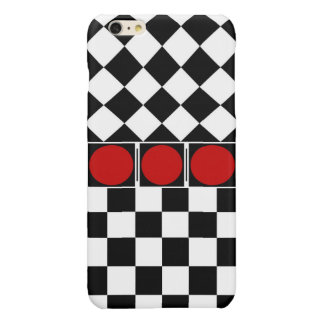 Stylish Black White Half Diamond Checkers red band Glossy iPhone 6 Plus Case