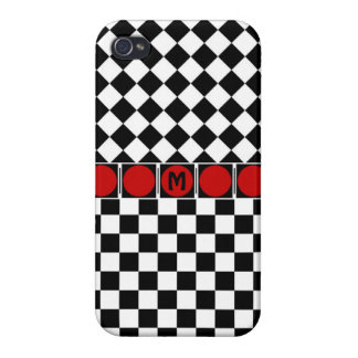 Stylish Black White Half Diamond Checkers red band iPhone 4/4S Covers