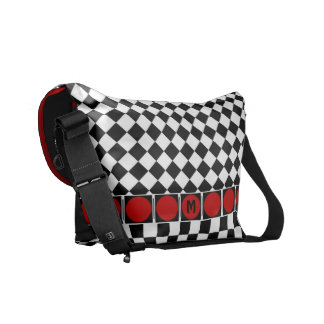 Stylish Black White Half Diamond Checkers red band Messenger Bag