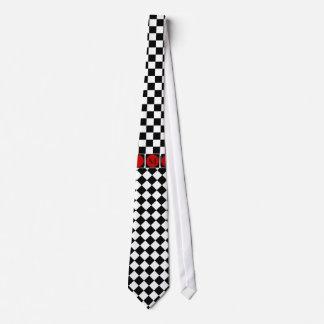 Stylish Black White Half Diamond Checkers red band Neck Tie