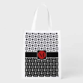Stylish Black White Half Diamond Checkers red band Reusable Grocery Bags