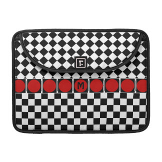 Stylish Black White Half Diamond Checkers red band Sleeve For MacBook Pro