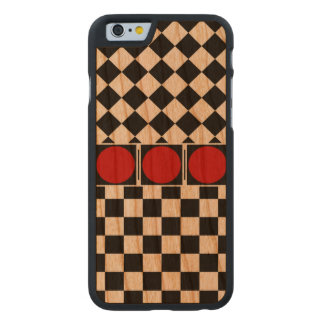 Stylish Black White Half Diamond Checkers red band Carved® Cherry iPhone 6 Slim Case