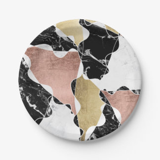 Stylish black white marble faux rose gold foil paper plate
