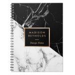 Stylish Black White Marble Texture Designer Notes Notebook