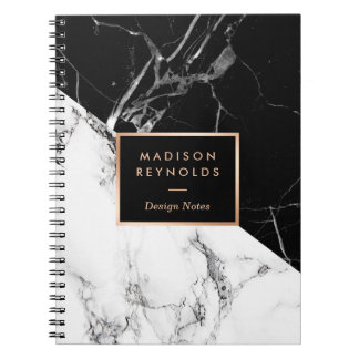 Stylish Black White Marble Texture Designer Notes Notebook