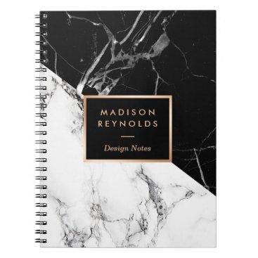 CardHunter Stylish Black White Marble Texture Designer Notes Notebook