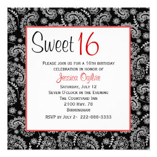 Stylish Black & White Paisley Sweet 16 Birthday Invite