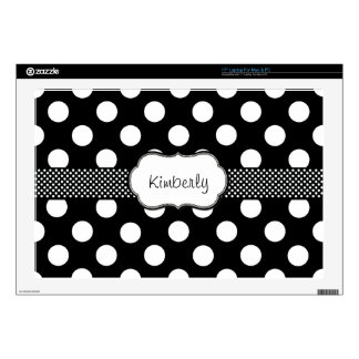 Stylish Black & White Polka Dot Laptop Skin