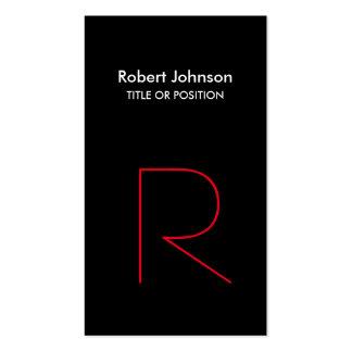 Stylish Black White Red Monogram Business Card