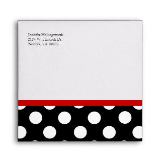 Stylish Black, White, & Red Occasion Envelope