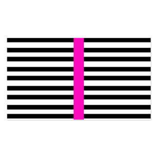 Stylish Black White Stripes Girly Hot Pink Stripe Business Cards