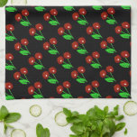 """Stylish Black With Red Cherries Towel<br><div class=""""desc"""">Look for matching cherry pattern kitchen and dining accessories in the rest of this shop.</div>"""