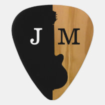 stylish black / wood guitar pick for the guitarist