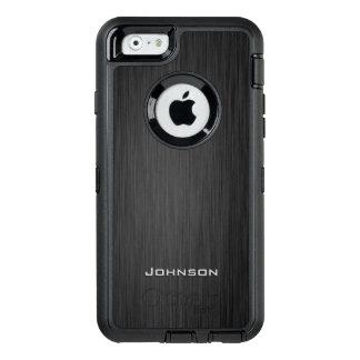 Stylish Black Wood Pattern Monogram Name OtterBox iPhone 6/6s Case