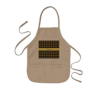 Stylish Black & Yellow Glitter Checkers Kids' Apron