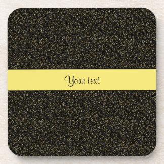 Stylish Black & Yellow Glitter Mini Stars Beverage Coaster