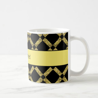 Stylish Black & Yellow Squares Coffee Mug